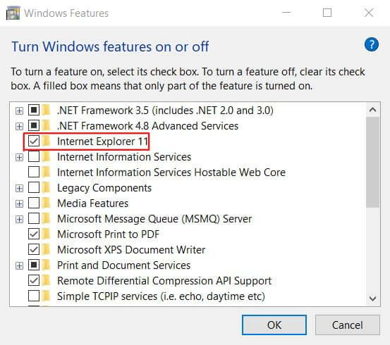 Turn off Windows features on or off.