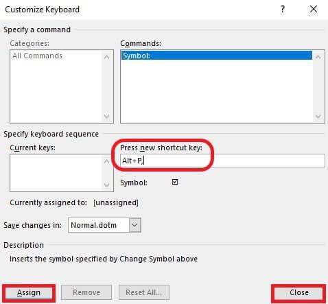 Create shortcut combination
