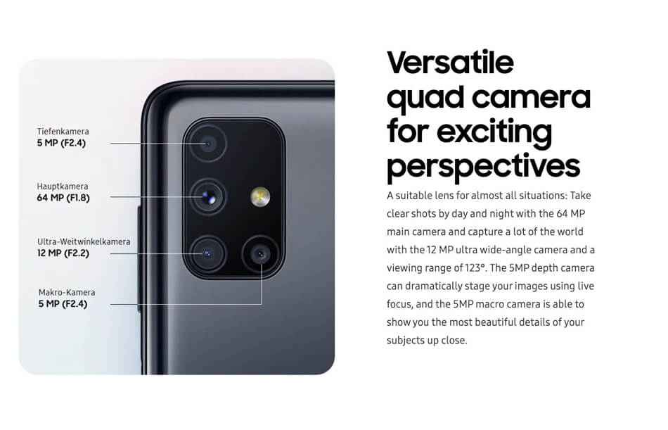 Samsung Galaxy M51 camera module