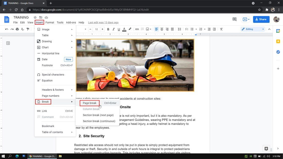How to add a page in Google Docs on your computer