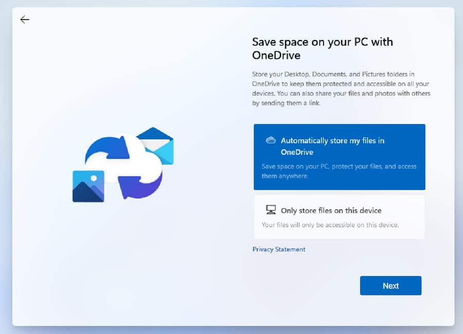Select OneDrive or Only store files on this device