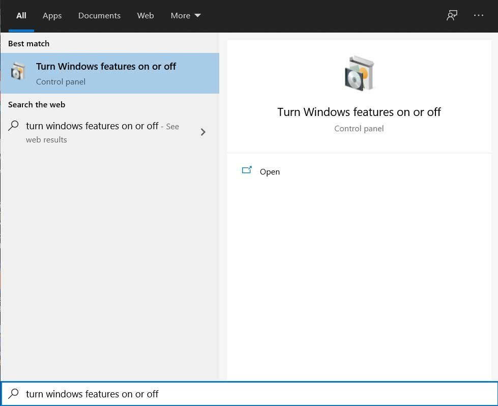 Windows Feature Menu