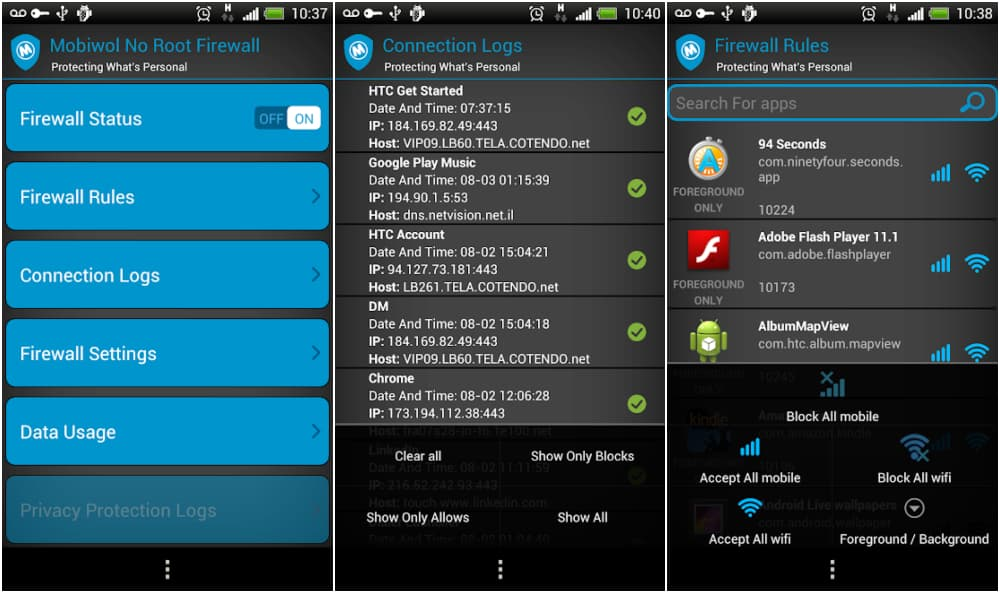 Mobiwol - Android Firewall App